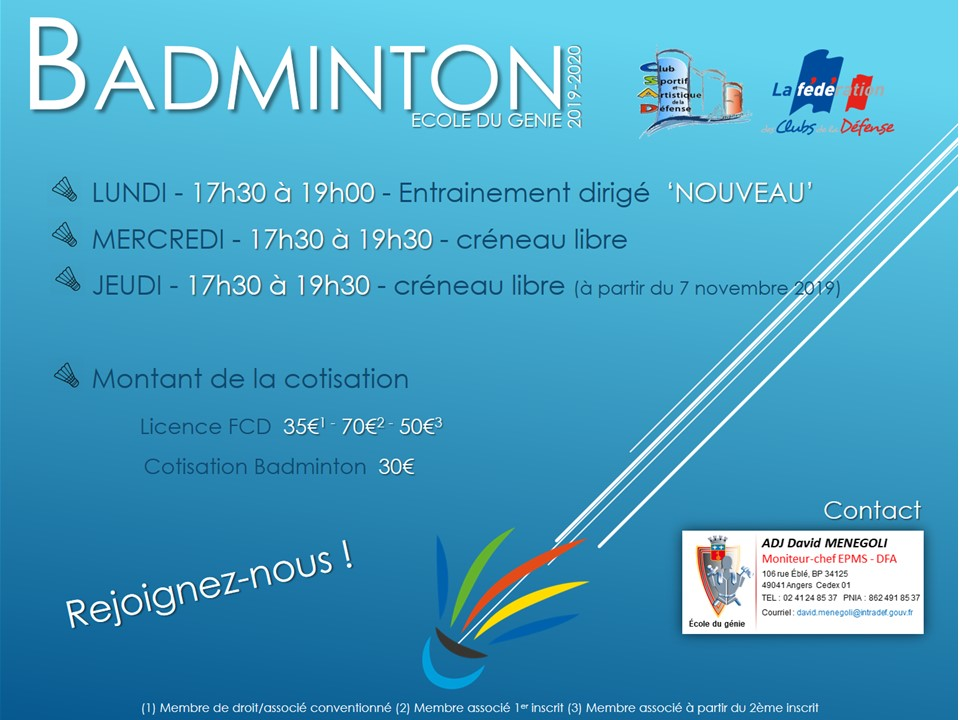 Affiche csad badminton